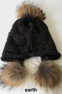 Wool Heidi Hat with Fur Pom Poms, Multi Colors, HA5