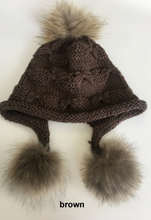 Hat, Wool Heidi Hat with Fur Pom Poms, Multi Colors, HA5