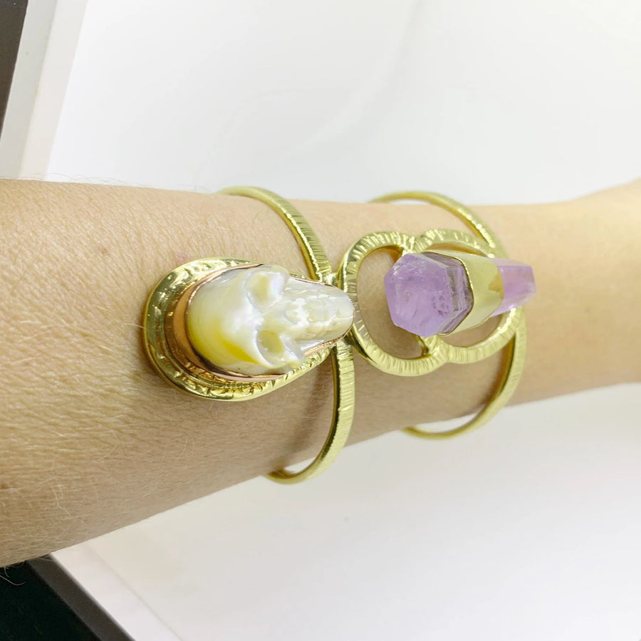 Happy Skull Cuff with Brazilian Amethyst and Sculpted Mother of Pearl