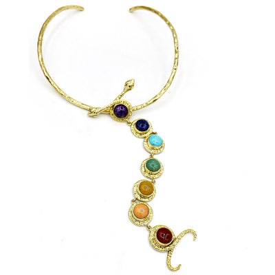 7 Chakra Double Snake Kundalini Articulated Necklace