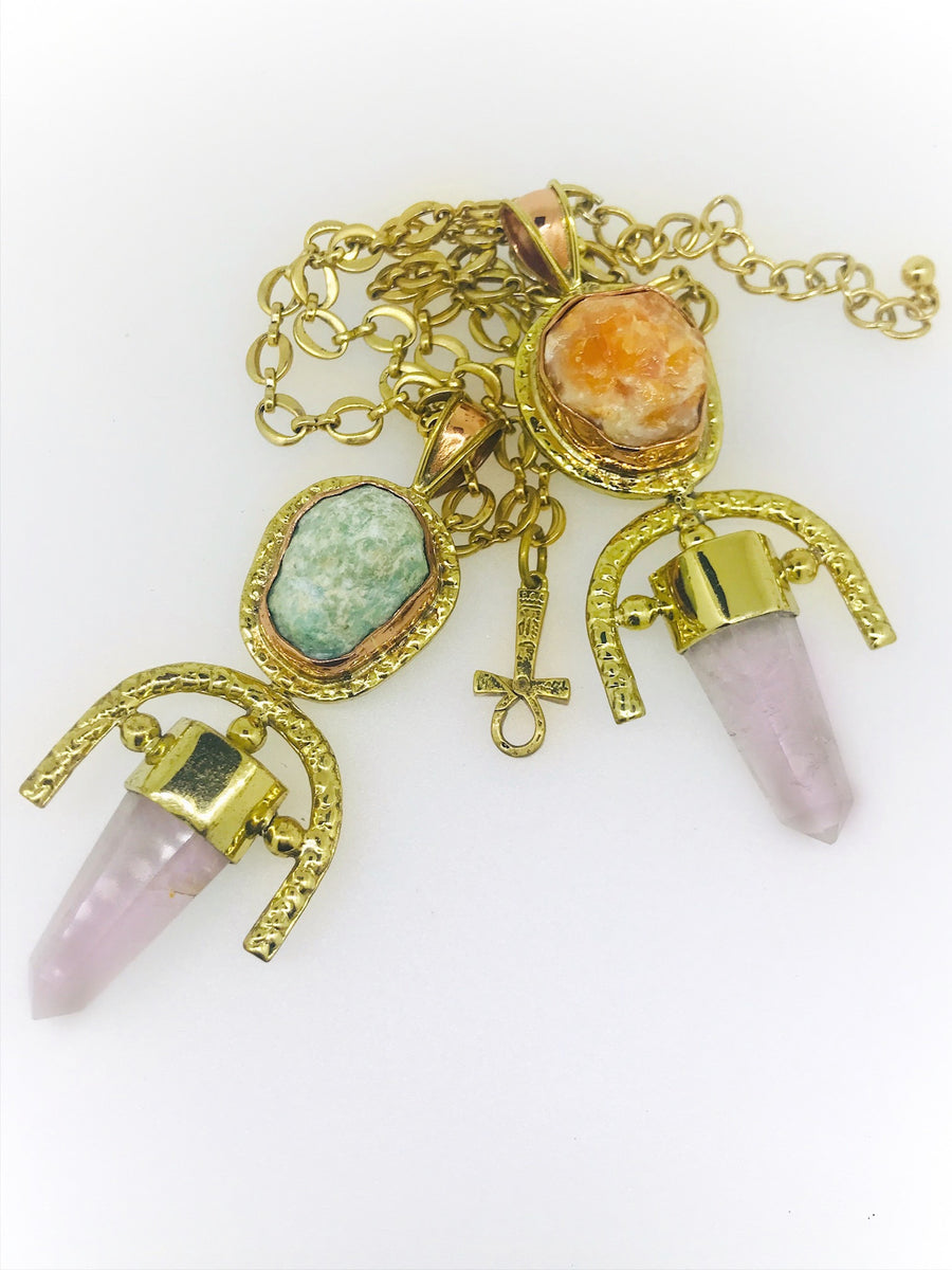 ROSE QUARTZ + Orange Calcite Double Gemstone Pendulum / Amulet