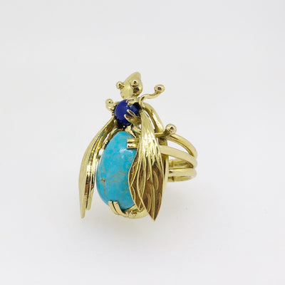Sacred Bee Small Ring Turquoise  + Lapis Lazuli