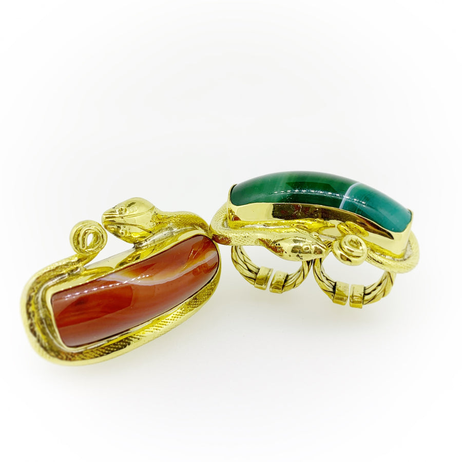 Temple Snake Green Gemstone Knuckle Ring