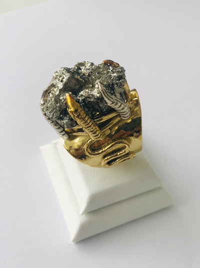Pyrite Crystal Power Cluster Claw Ring