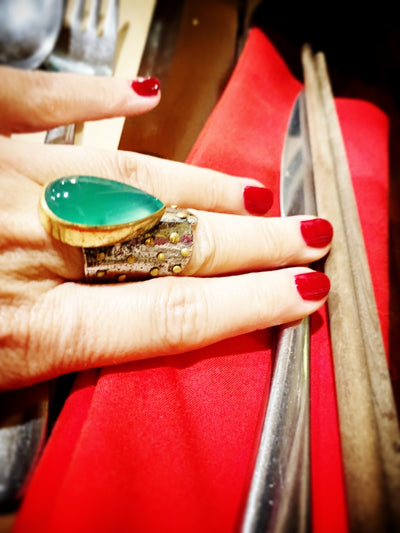 Emerald Green Cabochon Tara Wrap Ring
