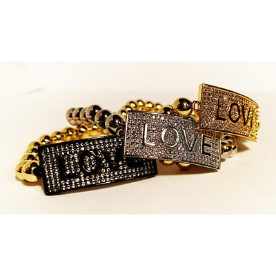 LOVE is ALL !  Bracelet Black / Gold