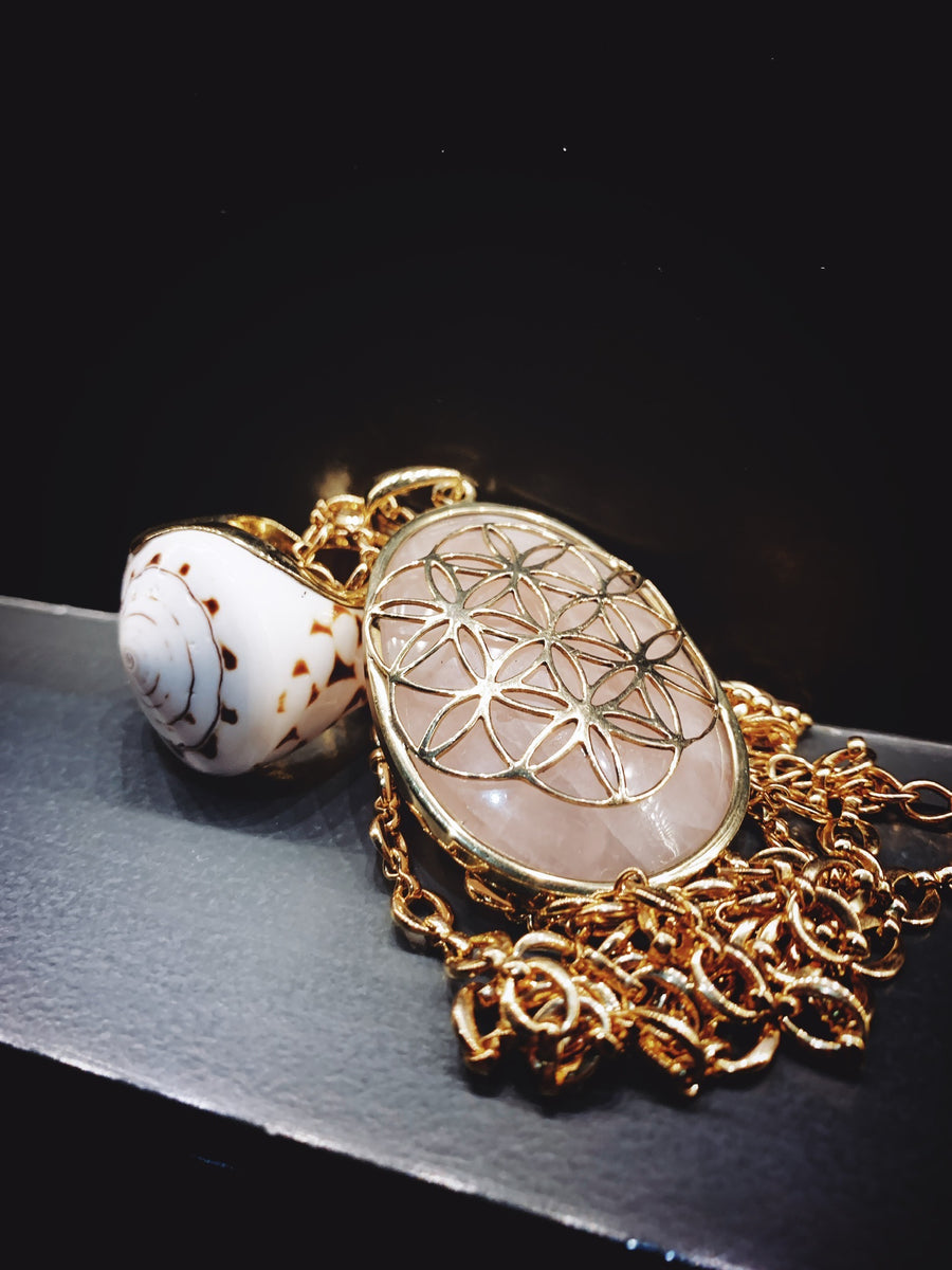 Flower Of Life - Rose Quartz  touch stone anxiety relief pendant