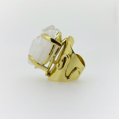 Crystal Power Cluster Quartz Claw Ring