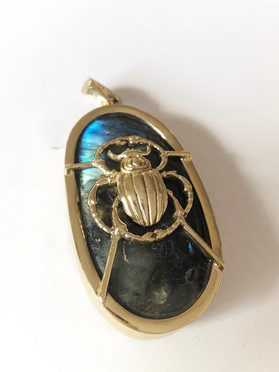 Scarab Labradorite Shamanic Amulet of Protection