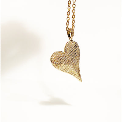 Heart Full of Light - Statement Oblique Heart Pendant