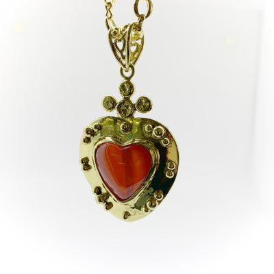 Victorian Heart Necklace with Carnelian Gemstone