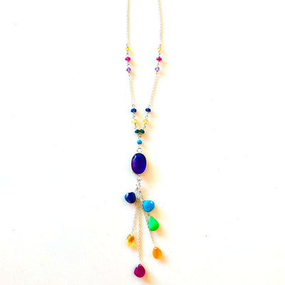 Gemstone Waterfall 7 Chakra Necklace