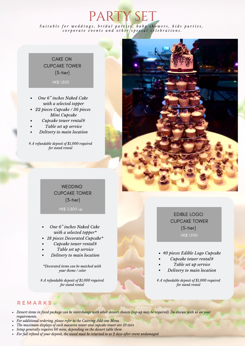 "Party Set Wedding cupcake tower One 6"" inches Naked Cake with a selected topper* 18 pieces Decorated Cupcake* Cupcake tower rental# Table set up service Delivery to main location"