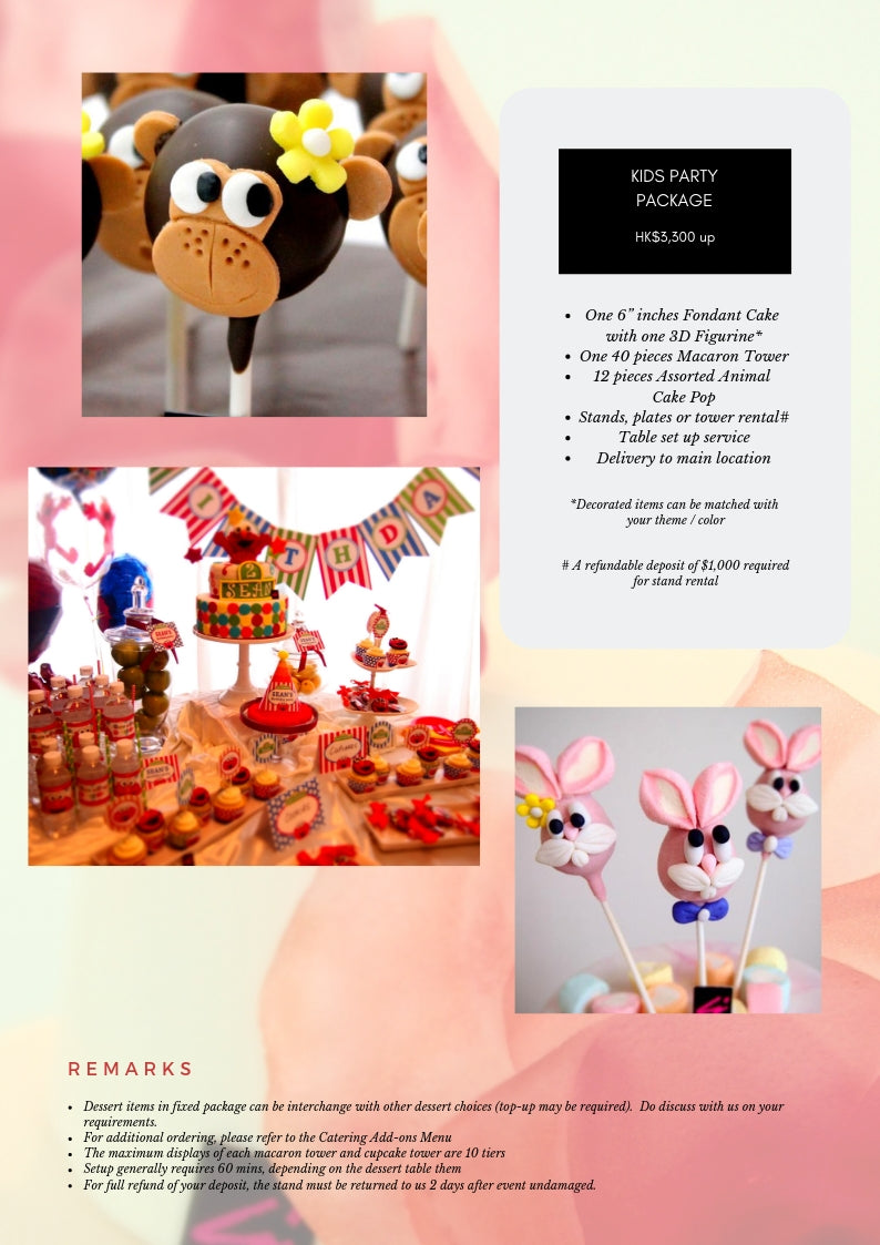 kids party package assorted animal cake pop birthday party macaron cupcake
