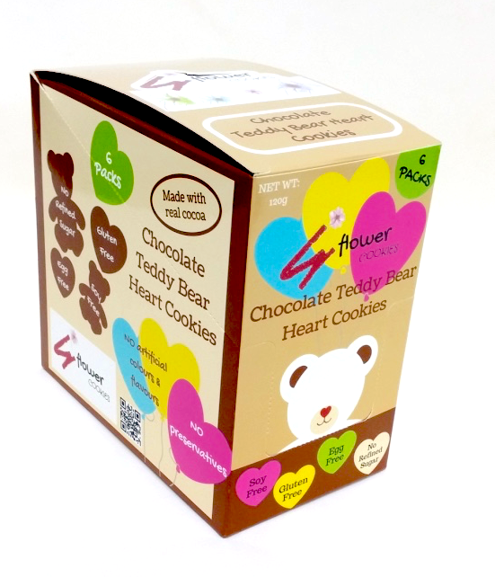 Boxset - 6 packs Gluten Free Chocolate Teddy Bear Heart Cookies