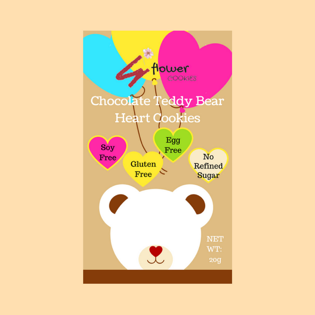 Gluten Free Chocolate Teddy Bear Heart Cookies