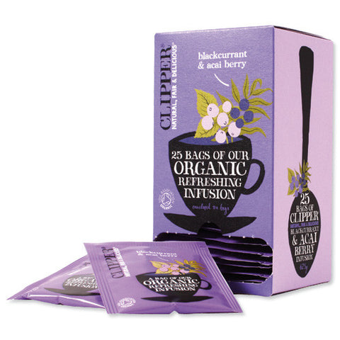 Clipper Fair Trade Organic Blackcurrent and  Acai Berry Envelope Tea (6x25)