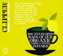 Clipper Fair Trade Organic Lemon and Ginger Str, Tag & Env