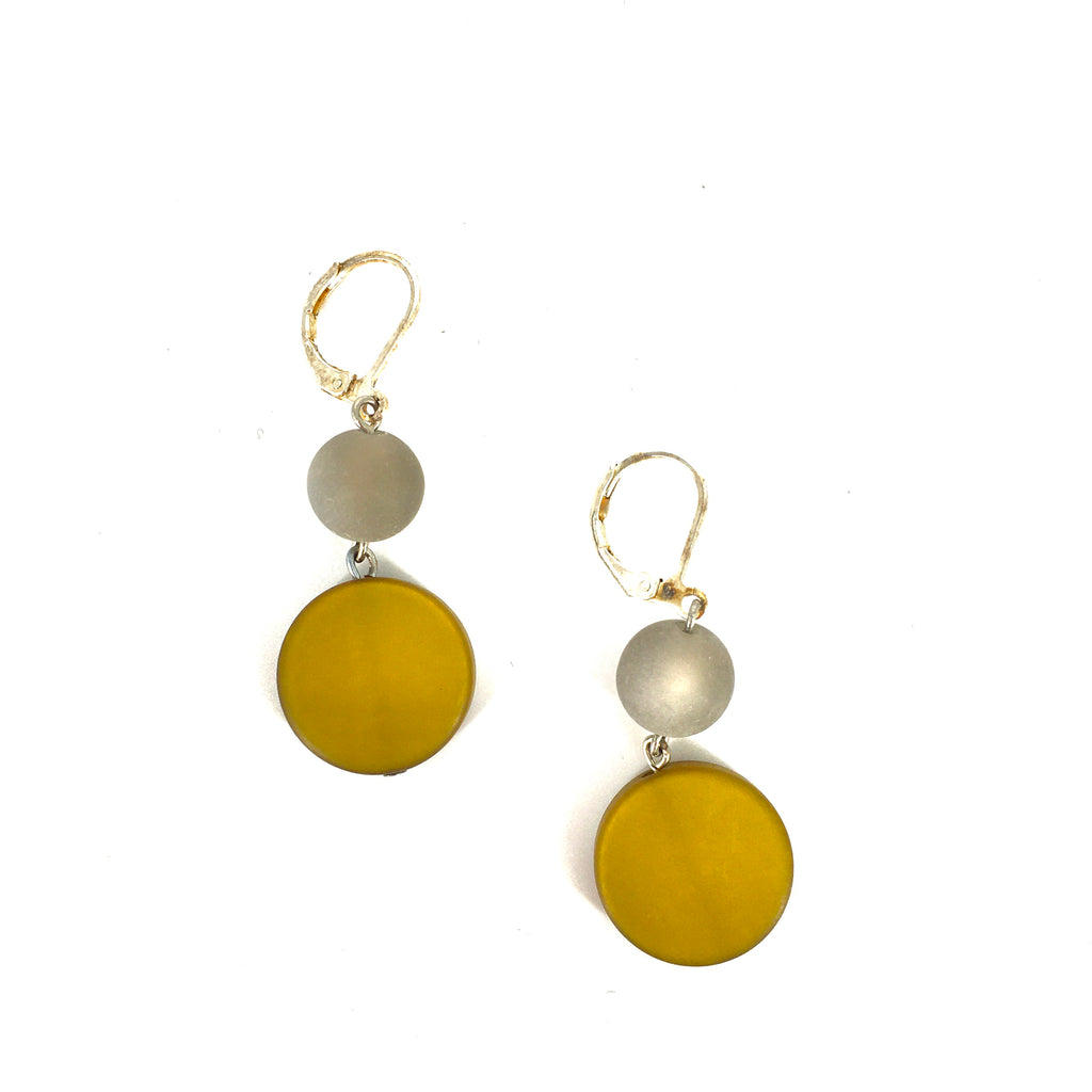 Matte Khaki Green Circle Earrings