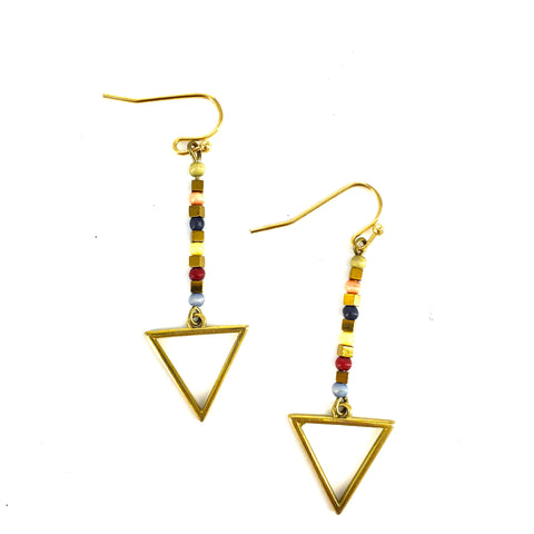 Triangle and Multi Colored Beads Dangling Earrings