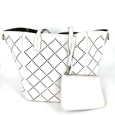 White Perforated Tote Handbag