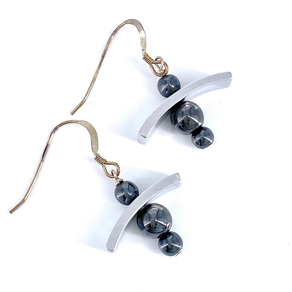 Hematite Bead and Salvaged Aircraft Material Earrings