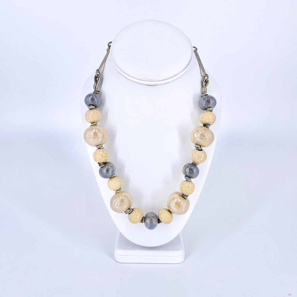 Taupe Ceramic Three Color Leather Necklace