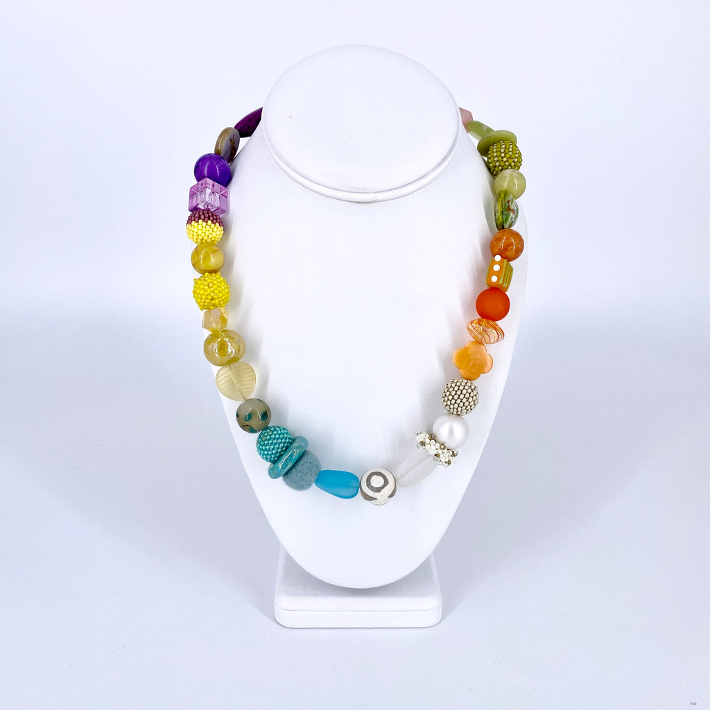 Multi Colored Beads and Charms Necklace