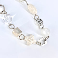 Frosted Glass and Silver Charms Necklace
