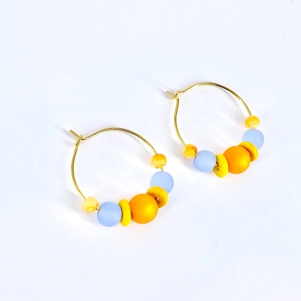Matte Orange Blue Hoop Earrings