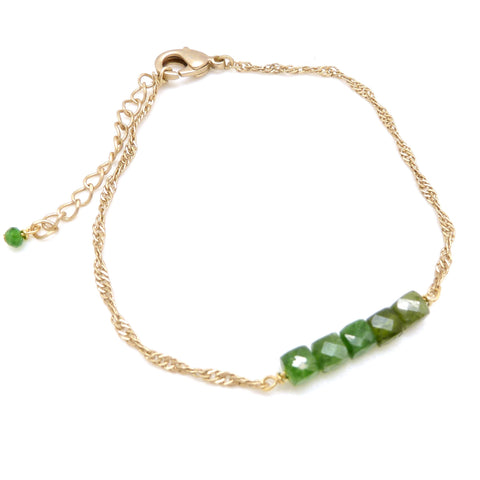Chrome Diopside Chain Bracelet