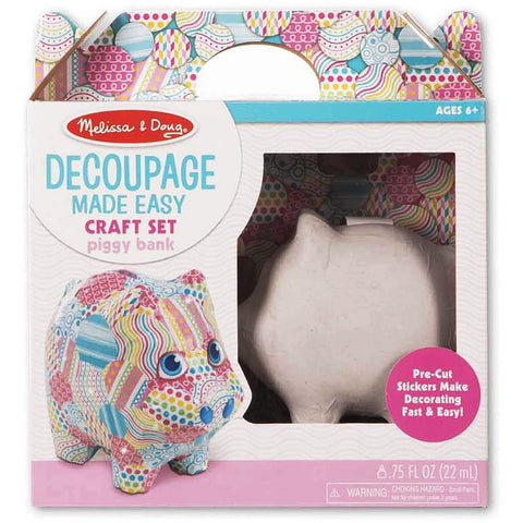 Melissa & Doug Decoupage Made Easy Piggy Bank Craft Set
