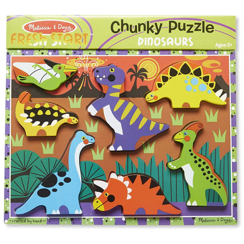Melissa & Doug Dinosaurs Chunky Wooden Puzzle - 7-Piece