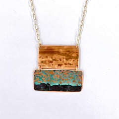 Copper Patina Elwha Double Bar Necklace