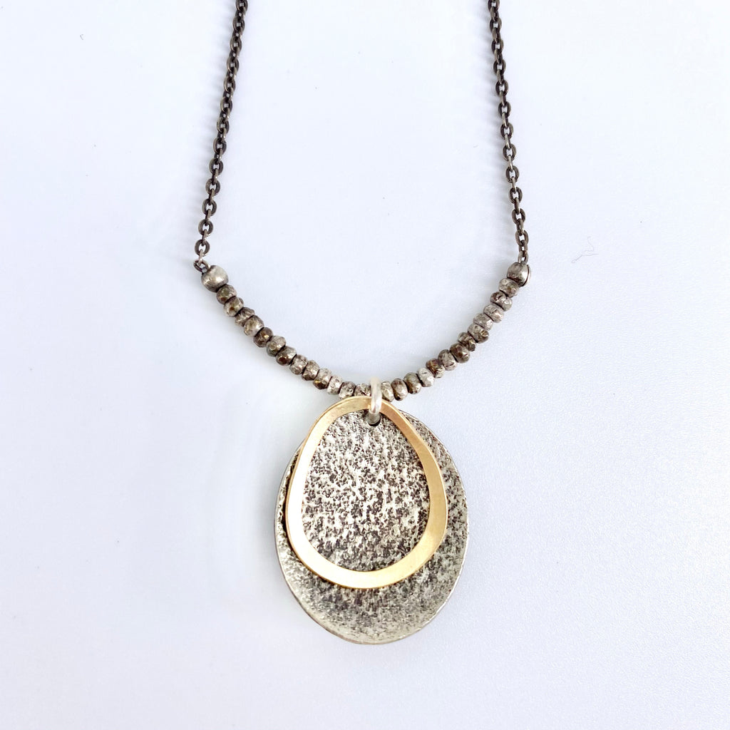 Textured Gold and Silver Oval Drop Necklace