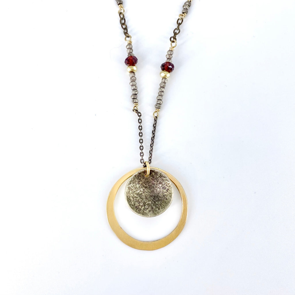 Gold and Garnet Textured Circle Necklace
