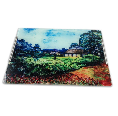 The Lynch Tiffany Window Glass Serving Tray