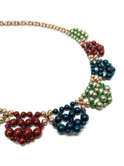Art Deco Mixed Color Pearls Necklace