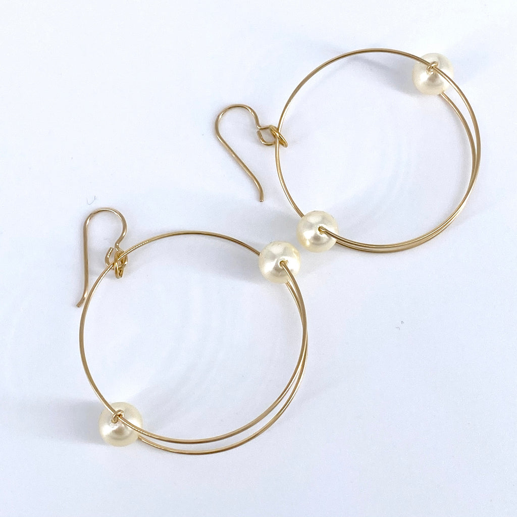 Gold and Glass Pearl Earrings