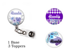 Interchangeable Bundle Set | Purple floral background | Badge Reel