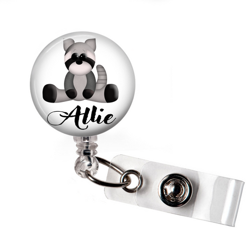 Badge Reel | Personalized Raccoon - badges-and-buttons-club