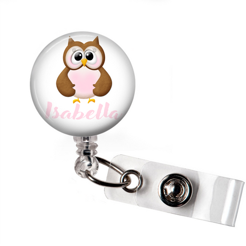 Personalized Owl | Badge Reel | P033 | Badges and Buttons Club