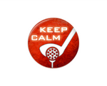 Button | Keep Calm Golf | Red Orange Background | Badges and Buttons Club