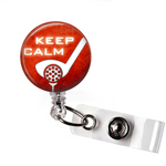 Keep Calm Golf | Red Orange Background | Badge Reel | NP015 | Badges and Buttons Club