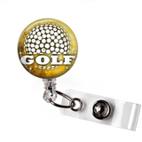 Badge Reel | Golf  | Tan Background - badges-and-buttons-club