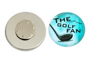 Magnetic Pin Back | The Golf Fan | Light Blue Background | Badges and Buttons Club