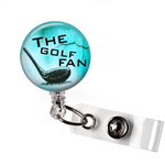 Badge Reel | The Golf Fan | Light Blue Background | NP018 | Badges and Buttons Club