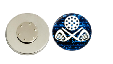 Magnetic Pin Back | Golf Club | Blue Background | Badges and Buttons Club