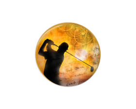Button | Golfer | Sunset Background | Badges and Buttons Club