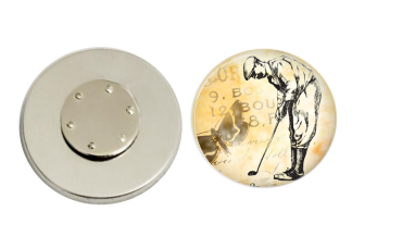 Magnetic Pin Back | Vintage Golfer | Tan Background | Badges and Buttons Club